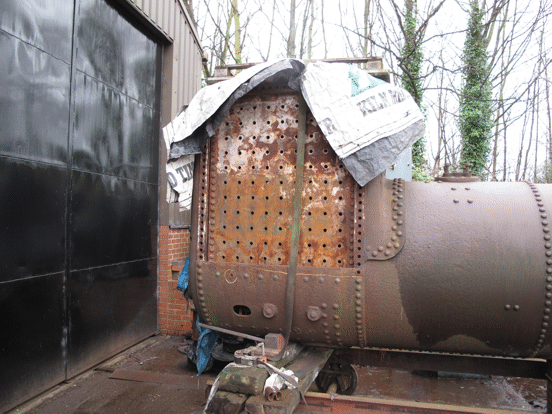 boiler of No.6, showing the right-hand firebox wrapper removed