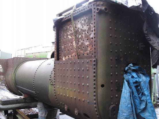 boiler of No. 6, showing the removed firebox plate