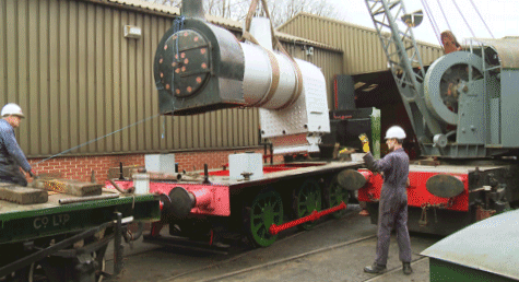 boiler in position ready to be lowered
