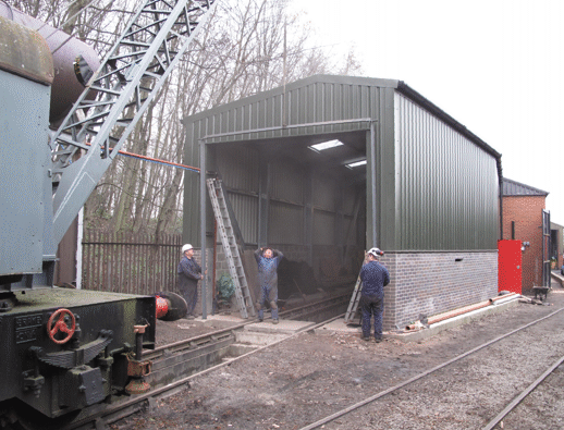 external door frame being fitted