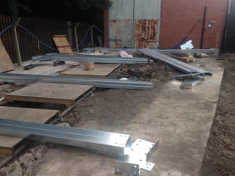foundation slab with brackets