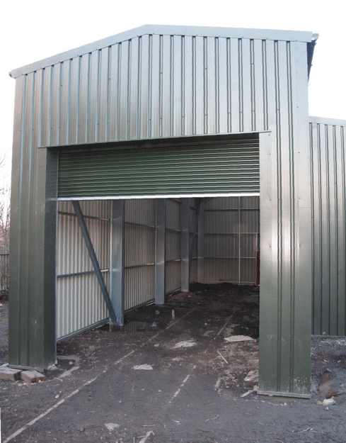 shelter with door partly closed